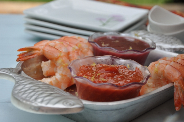 Shrimp cocktail sauces: Traditional spicy & Raspberry-radish