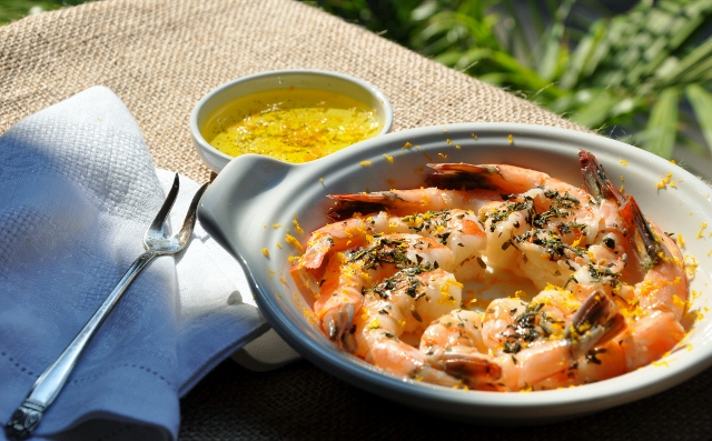 Steamed Shrimp with Herb de Provence and Zested Orange (MCB, LLC)