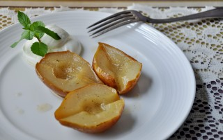 Roasted Pears with Yogurt and Mint