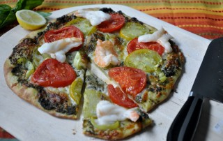 Gulf shrimp and heirloom tomato pizza