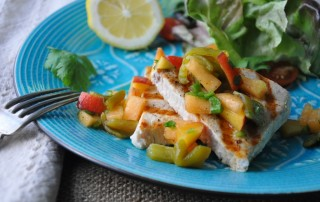 Swordfish with hatch Chile and Nectarine Salsa
