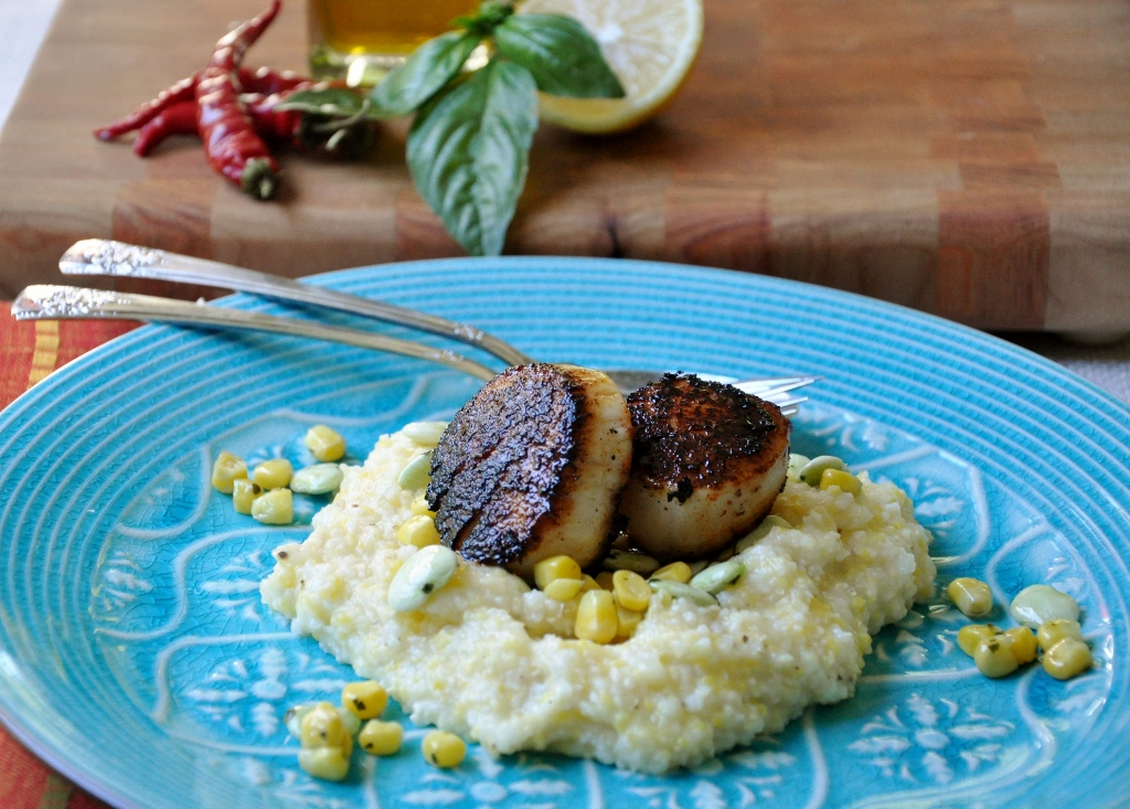Blackened Scallops with Cheese Grits and Basil-Olive oil Succotash