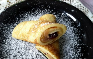 Baked Apples and Roasted Chestnut Puree Crepes