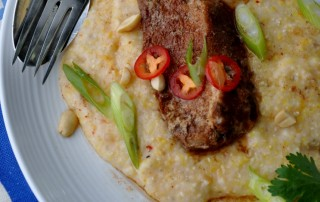 Slow-Cooked Lager-Infused Country-Style Ribs and Organic Stone Ground Kimchi Grits w Peanuts