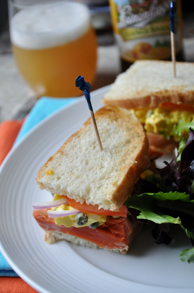 Alaska Smoked Salmon, Egg Salad & Capers on Sour Dough Maureen C. Berry