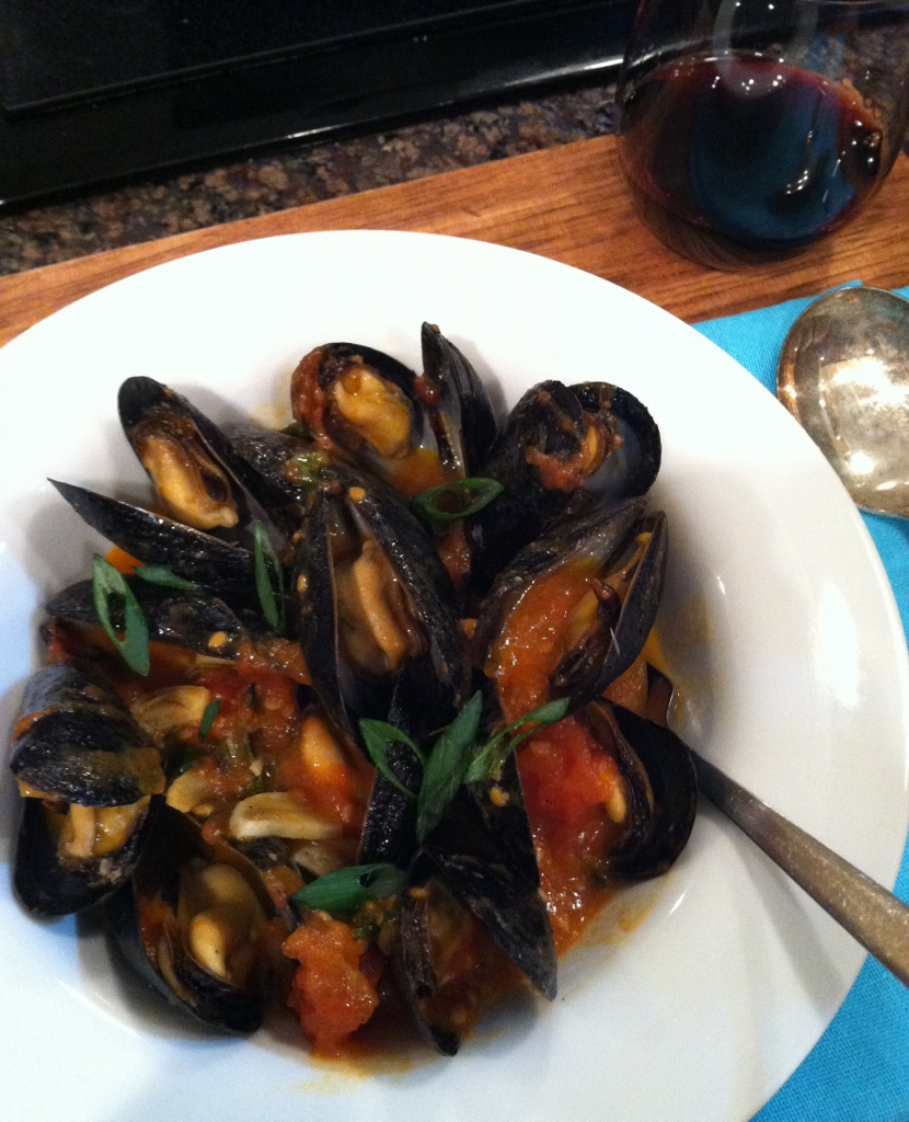 Mussels with Tomato-Peanut Satay Broth w Garlic & Basil Seafood Lady