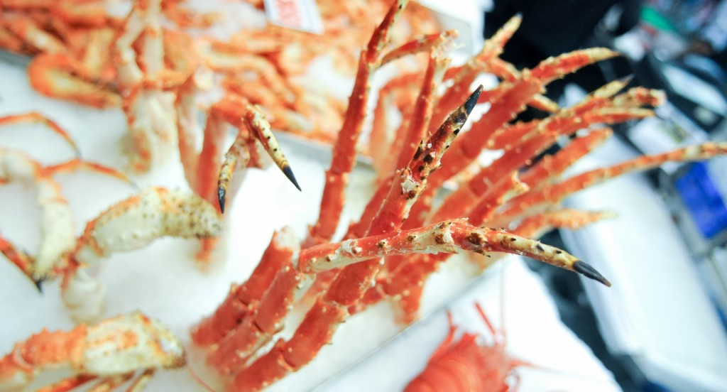 King Crabs Legs In Ice At A Fish Market