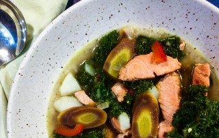 Salmon Kale Curry Soup