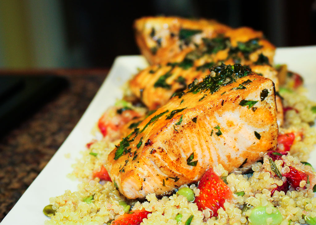 King Salmon With Strawberry-Mint Quinoa