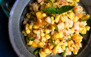 gulf shrimp peach corn chopped salad